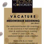 Vacature medewerker bediening Grand café de Heeren van Coevorden