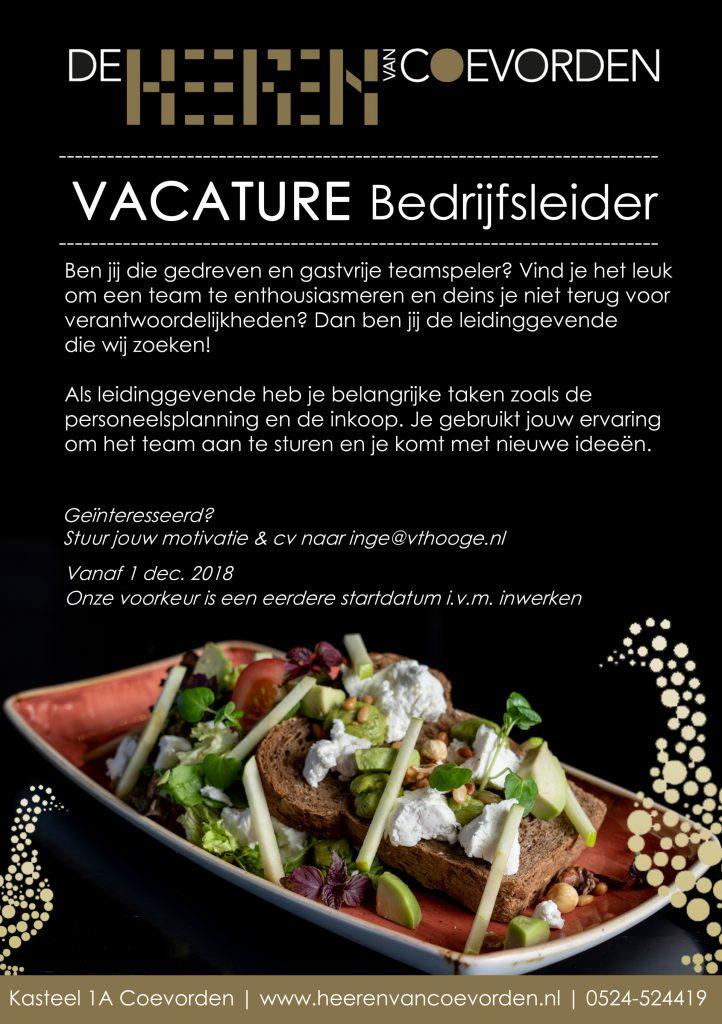 vacature bedrijfsleider Grand café de Heeren van Coevorden